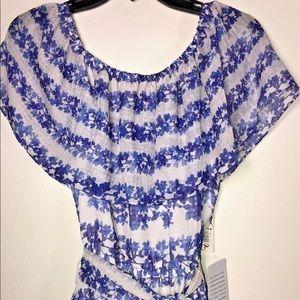 Eliza J Dress Chiffon Maxi Floral Printed Blue